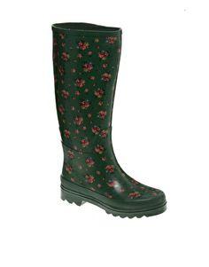 Cath Kidston Field Flowers Green Rainboots