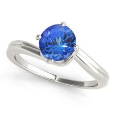Angara Classic Solitaire Tanzanite Curved Ring with Diamond in 14k Yellow Gold fxHN9udCoF