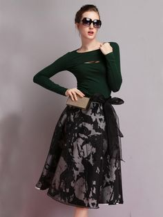 Buy Black Organza Irregular Pattern Bubble Skirt from abaday.com, FREE shipping Worldwide - Fashion Clothing, Latest Street Fashion At Abaday.com
