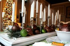 diy candelstick centerpiece, for holidays