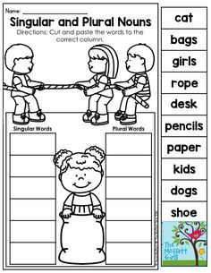 Singular and Plural Nouns- Have students decide if a noun is one or more than one. Fun grammar activity for first grade! Grammar Activities, Teaching Grammar, English Activities, Language Activities, Plural Words, Singular And Plural Nouns, Nouns And Verbs, Plural Nouns Worksheet, Nouns First Grade
