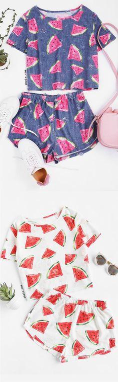Watermelon Print Frayed Dot Tee And Shorts Set