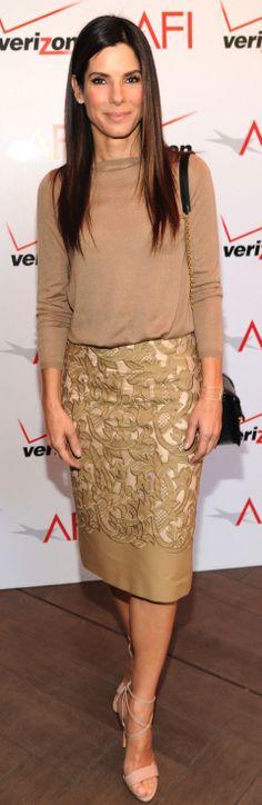 Sandra Bullock wearing Burberry