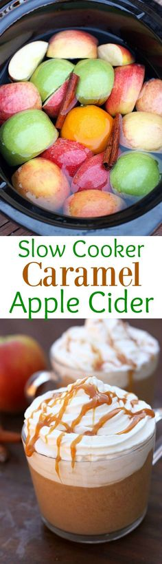 Slow Cooker Caramel Apple Cider recipe. A fun and easy holiday drink for the…
