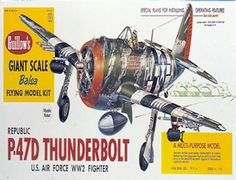 The Guillows 1/16 Republic P-47D Thunderbolt is a balsa wood aircraft model kit from the range manufactured by Guillow.  The Guillow Republic P-47D Thunderbolt was partially overshadowed by the famous Mustang, It was established a distinguished record as a high altitude interceptor and bomber escort. More Thunderbolts were manufactured during World War 2 than any other American fighter, and the seven-ton aircraft became extremely popular with A.A.F. pilots.