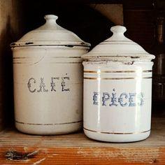 vintage French enamelware tins café coffee épices by AtticAntics, $69.00