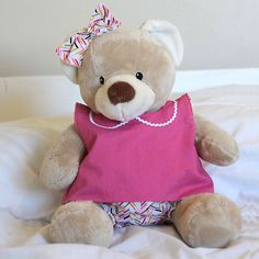 learn to sew a cute top and bloomers for a teddy bear (build-a-bear) with this easy to follow sewing tutorial and free pattern.
