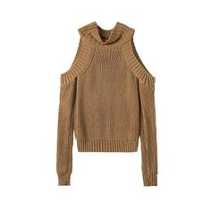 Khaki Cold Shoulder High Neck Jumper ($34) ❤ liked on Polyvore featuring tops, sweaters, khaki jumper, cut out shoulder sweater, brown sweater, jumpers sweaters and open shoulder sweater
