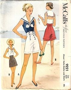Charming high waisted vintage shorts: McCall 9221. I love the halter-neck with the sailor collar! More