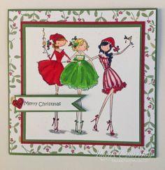 Bella Stamps 3 amigas Christmas card