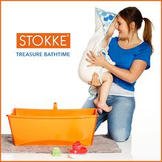 Stokke Flexi Bath's space saving design makes it easy to store and convenient to use at home or when traveling, encouraging more shared bath time moments.