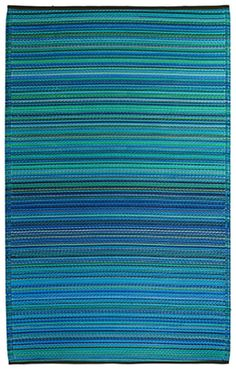Fab Habitat Blue Stripe Cancun Outdoor Rug | Tropical Garden | Nautical Garden | Coast | Seaside