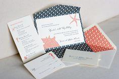 Coral and navy destination wedding invite