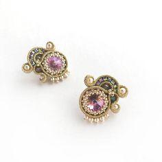 Soutache earrings white gold earrings Swarovski earrings
