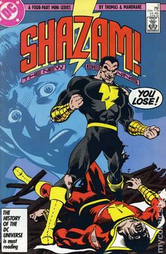 Shazam is a comic book character created by Bill Parker and C. Beck for Fawcett Comics. He is an ancient wizard ( Whiz Comics gives his age as years) who gives young Billy Batson the power to transform into the superhero Captain Marvel. Shazam Comic, Shazam Dc Comics, Captain Marvel Shazam, Marvel Dc, Marvel Comics, Marvel Comic Books, Comic Book Characters, Comic Character, Dr Fate