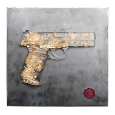 Clear Resin Hand Gun with Gold Flake cast inside by RayGearyArt, $125.00