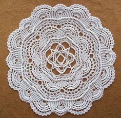 Crochet Pattern for the Round Ribbed Doily Dimensions: About 18 inches in… Filet Crochet, Crochet Round, Crochet Home, Thread Crochet, Irish Crochet, Crochet Dollies, Crochet Doily Patterns, Crochet Squares, Crochet Motif