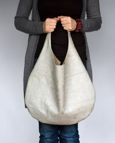 Silver Grey Leather Hobo Bag.