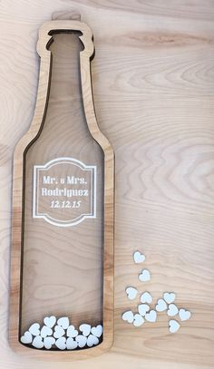Wine Bottle Wedding Guest Book Alternative with Hearts | Drop Top Shadow Box…