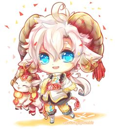 gif chibi anime original Ram sheep chinese new year 2015 artists ...