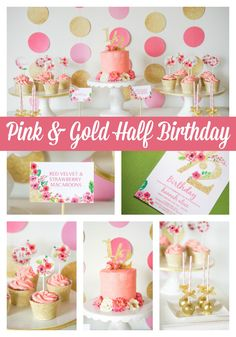 We think a half birthday is the perfect excuse to throw a festive party! This cute pink and gold-themed bash is styled down to the very last detail–from a magnificent mini layer cake to adorable DIY cake and cupcake toppers.
