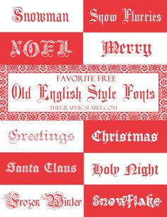 Favorite Free Old English FONTS - For the Holidays! - by Emily for The Graphics Fairy (Favorite Fonts Graphics Fairy) Old English Font Free, English Fonts, Free Fonts For Cricut, Cricut Fonts, Typography Fonts, Lettering, Christmas Fonts, English Christmas, Graphics Fairy