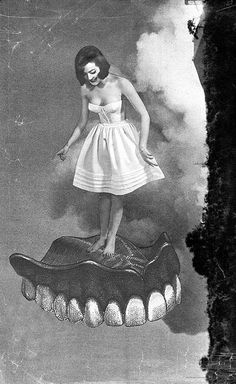 Floating denture. throw some wings on her back and she a toothfairy