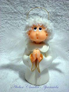 Anjo da Guarda - 16 cm altura Modelado em biscuit com caracteristicas infantis.  Elo7 - Atelier Claudia Aparecida