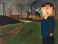 Franz Seiwert, Zwei Arbeiter vor Industrielandschaft, 1924, Öl auf Pappe