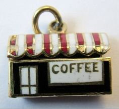 Opening gold and enamel coffee shop charm www.sandysvintagecharms.co.uk. this reps thy r charmed w my writing re Seattle / SC Republicans assn w garbage & spreading falsehoods. Thy think it is golden