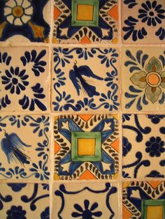 Tiles in Camino Real, Puebla, Mexico. Authentic Talavera available here: http://www.lafuente.com/Tile/Talavera-Tile/