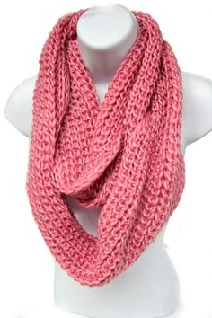 Pink Knit Infinity Scarf