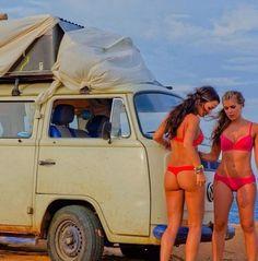 VW Bus #VW Van # surf girls # sexy bikini ♠... X Bros Apparel Vintage Motor T-shirts, Volkswagen Beetle & Bus T-shirts, Great price… ♠