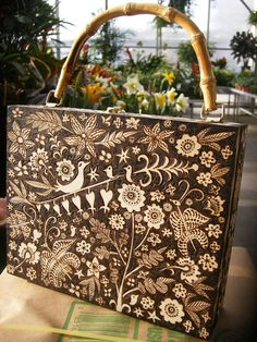 box pursespringtime night forest design bird door burnedfurniture, $125.00