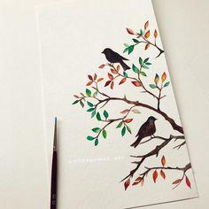 "2,290 Likes, 23 Comments - @noorahmad_art on Instagram: ""My fav season is fall  who else loves fall? #fall #tree #lovebirds #birds #autumn #art #draw…"""