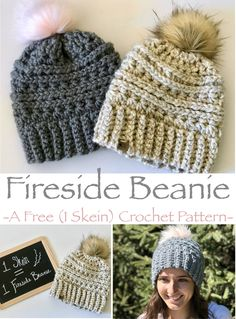 Beanie- Free Crochet Pattern Fireside Beanie- A free crochet pattern. Requiring only 1 skein of yarn and less than 2 hours time to make!Fireside Beanie- A free crochet pattern. Requiring only 1 skein of yarn and less than 2 hours time to make! Crochet Adult Hat, Crochet Beanie Pattern, Free Crochet Hat Patterns, Chunky Crochet Hat, Crochet Baby Beanie, Crocheted Hats, Slouchy Beanie Pattern, Disney Crochet Patterns, Crochet Hat For Women