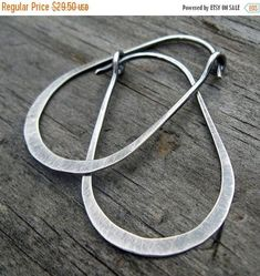 20% OFF TODAY - Gunnysack Hoops - oxidized stelring silver oblong hoops