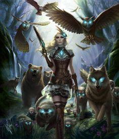 Steampunk female n forest army