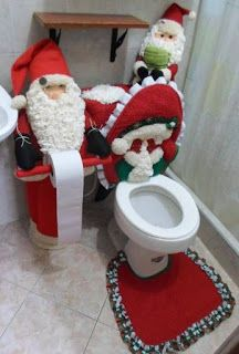 31 Amazing Christmas Bathroom Decor Ideas You Never Seen Before - Christmas is a time when we get to transform our living space for a couple of months into a festive ornamented home. Ribbons, ornaments, lights, and f. Felt Christmas Decorations, Felt Christmas Ornaments, Christmas Crafts, Christmas Fabric, Before Christmas, Winter Christmas, Christmas Time, Christmas Bathroom Decor, Christmas Towels