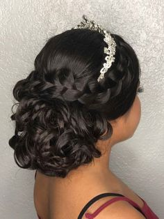 love adding a braid to any hairstyle Quince updo! love adding a braid to any hairstyle # Sweet 15 Hairstyles, Quince Hairstyles, Prom Hairstyles, Elegant Hairstyles, Curled Hairstyles, Updo Hairstyle, Classic Hairstyles, Bandana Hairstyles, Celebrity Hairstyles