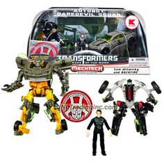 """Hasbro Year 2010 Transformers Movie Series 3 """"Dark of the Moon"""" Exclusive Human Alliance Series Robot Action Figure Set - AUTOBOT DAREDEVIL SQUAD with Deluxe Class BUMBLEBEE (Vehicle Mode: Camaro Concept) and Scout Class BACKFIRE (Vehicle Mode: Trike) Plus Sam Witwicky and Autobot Alliance Patch"""