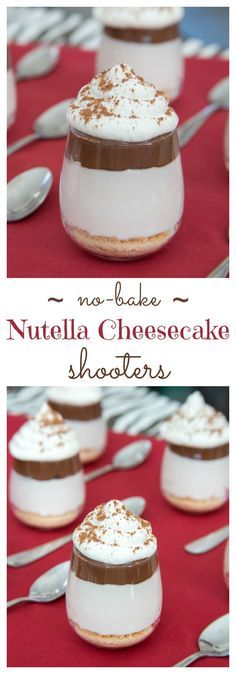 No-Bake Nutella Cheesecake Shooters - layers of cheesecake, chocolate hazelnut spread and whipped cream on top of a classic graham cracker or gluten free crust and topped with whipped cream are a simple, rich and elegant mini dessert perfect for a party! | cupcakesandkalechips.com