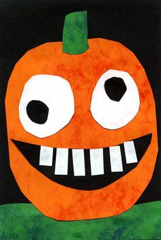 Silly Pumpkin collage made with marble construction paper! A cute and personalized craft for preschool and kindergarten kids this fall!