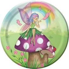 Perfect for any little girl�s birthday party, these eye-catching Fairy Dessert Plates feature an enchanted fairy with delicate purple wings sitting atop a spotted toadstool with a colorful rainbow behind. The premium strength plates are ideal for serving appetizers, light snacks, and desserts and coordinate with other tableware from the complete line of fairy birthday party supplies.