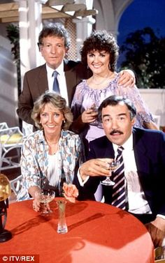 The original cast of Duty Free in 1984 Keith Barron, Gwen Taylor, Joanna Van Gyseghem and Neil Stacy British Comedy, British Actors, American Actors, Family Memories, Childhood Memories, 1980s Pop Culture, Comedy Actors, Childhood Tv Shows, Free Tv Shows