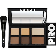 LoracPRO Contour Palette with PRO Contour Brush ~ This PRO artistry palette contains 2 matte highlighters, 1 shimmer highlighter and 3 matte contour shades to easily create perfectly sculpted features.