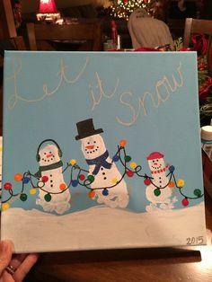 Snowman Footprint canvas art