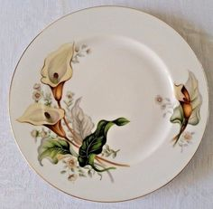 Grace China Wood Lily Dinner Plate 10.5 in Japan Retired Pattern Calla Gold Trim & Mikasa English Countryside Dinner Plate DP900 Raised Embossed White ...