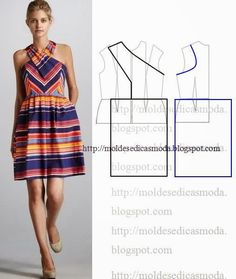 Risultati immagini per moldesedicasmoda Sewing Patterns Free, Clothing Patterns, Dress Patterns, Fashion Sewing, Diy Fashion, Ideias Fashion, Diy Clothing, Sewing Clothes, Vetements Clothing