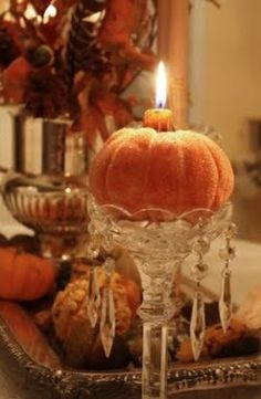Thanksgiving or Halloween - I actually have these candle holders.